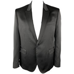 VERSACE COLLECTION Size 46 Black Sparkle Viscose / Wool Satin Trim Tuxedo Sport
