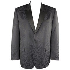 VERSACE COLLECTION Size 46 Jacquard Black & Navy Jacquard Peak Lapel Sport Coat