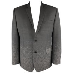 VERSACE -COLLECTION Size 46 Ombre Black & Grey Wool Sport Coat