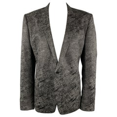 VERSACE COLLECTION Size 50 Charcoal & Black Metallic Print Sport Coat