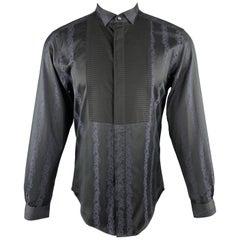 VERSACE COLLECTION Size M Black & Navy Stripe Print Cotton Tuxedo Bib Shirt
