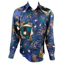 VERSACE COLLECTION Size M Blue Print Silk Button Up Long Sleeve Shirt