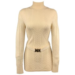 VERSACE COLLECTION Size S Cream Textured Turtleneck Medusa Belt Pullover