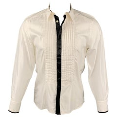 VERSACE COLLECTION Trend Size M White & Black Pleated Viscose / Cotton Shirt