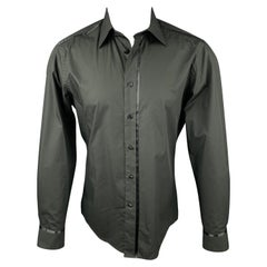 VERSACE COLLECTION Trend Size S Black Cotton Button Up Long Sleeve Shirt
