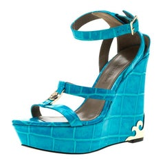Versace Collection Turquoise Croc Embossed Leather Ankle Strap Wedge Platform Sa