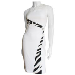 Versace Color Block One Shoulder Dress