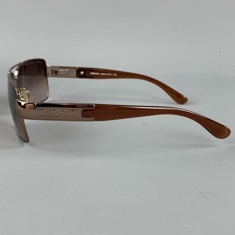 VERSACE Copper & Brown Metal & Acetate Square Sunglasses In Good Condition For Sale In San Francisco, CA