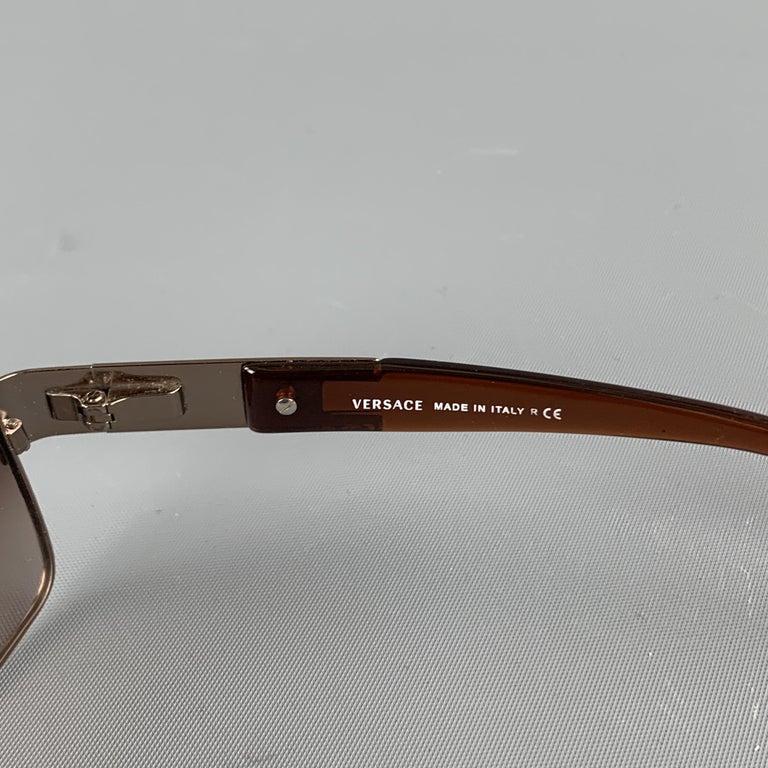 Men's VERSACE Copper & Brown Metal & Acetate Square Sunglasses For Sale