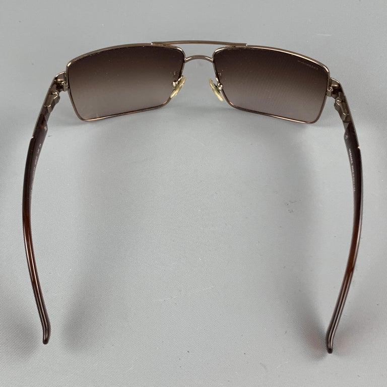 VERSACE Copper & Brown Metal & Acetate Square Sunglasses For Sale 1