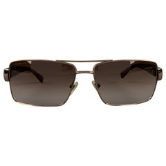 VERSACE Copper & Brown Metal & Acetate Square Sunglasses