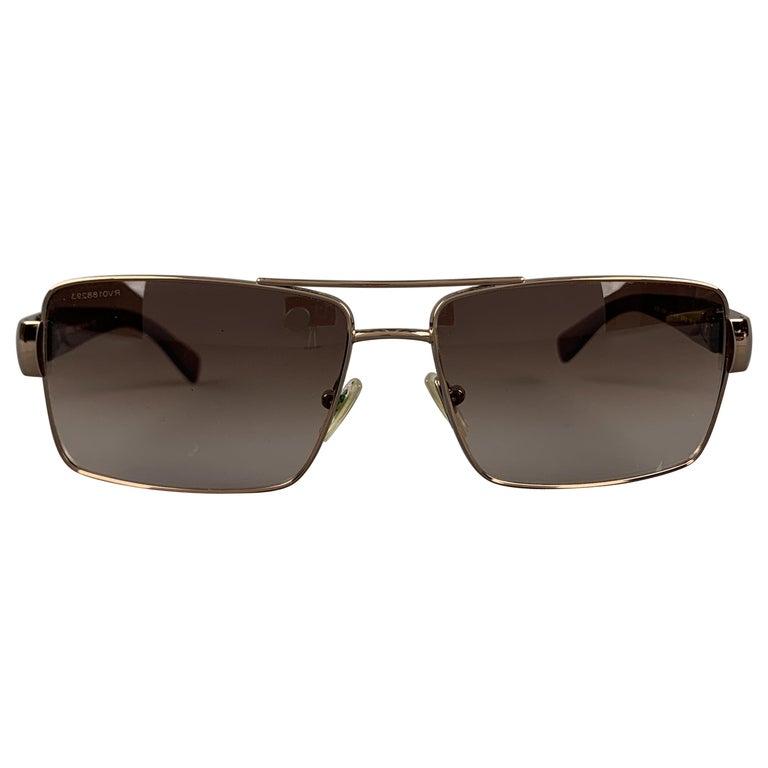 VERSACE Copper & Brown Metal & Acetate Square Sunglasses For Sale