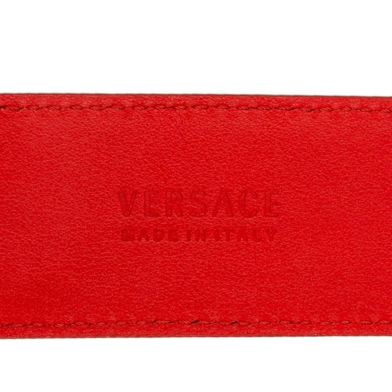 VERSACE coral red leather & gold MEDUSA BUCKLE Belt 75 1