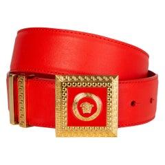 VERSACE coral red leather & gold MEDUSA BUCKLE Belt 75