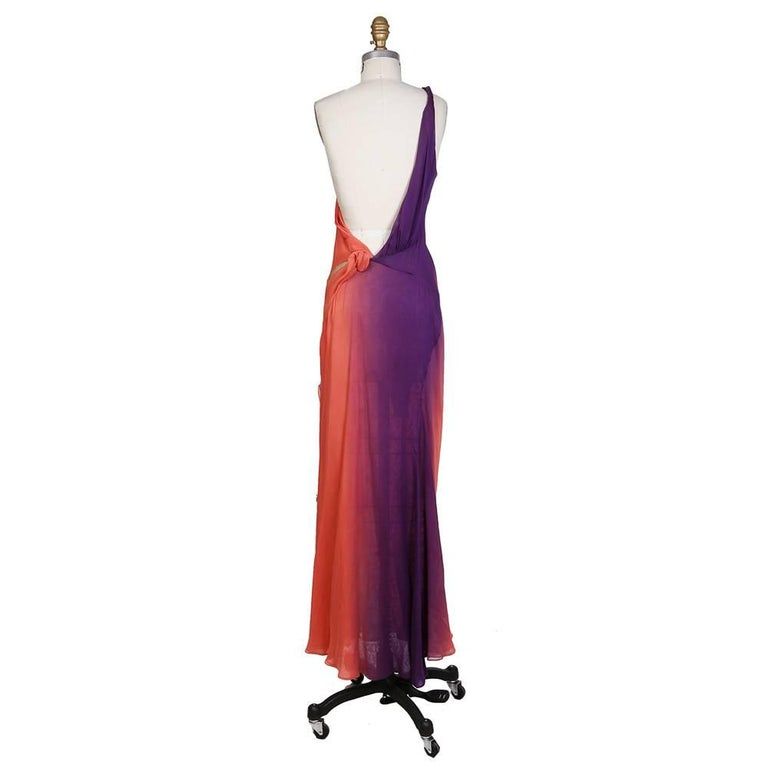 Dress by Gianni Versace circa 1990s One shoulder design with low open back  100% silk Condition: Great  Size/Measurements: Italian size 42