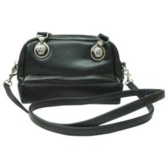 Versace Couture BLACK leather cross body Purse