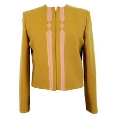 Versace Couture Mustard Yellow Wool Evening Jacket 1980s