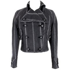 Versace Couture Vintage Jacket Double Breasted Pinstripe Wool Gray