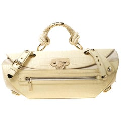 Versace Cream Croc Embossed Leather and Suede Medium Canyon Bag