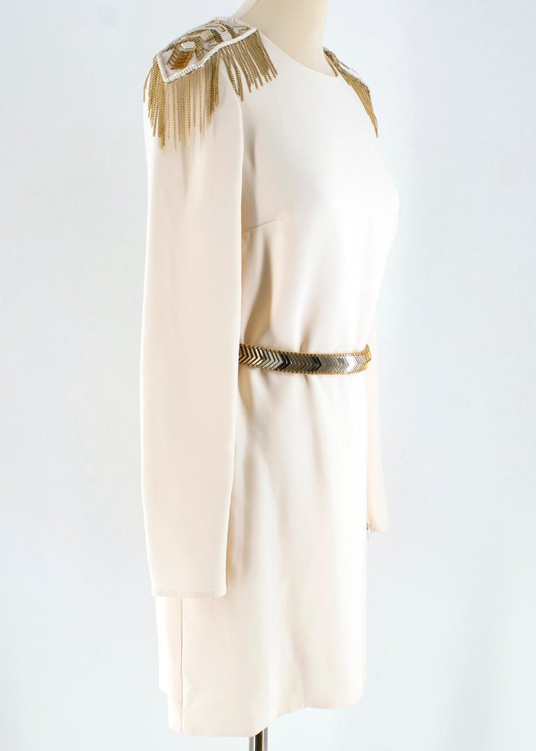 Versace Cream Mini Dress with Crystal Embellished Shoulders & Belt  - Mini cream dress - Long sleeve - Gold tone crystal and chain embellished removable shoulders patches - Gold tone crystal embellished belt with hoo fastening  - Invisible ream belt