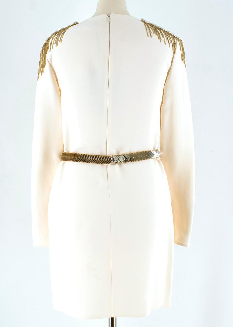 Versace Cream Mini Dress with Crystal Embellished Shoulders & Belt 40 IT In New Condition For Sale In London, GB