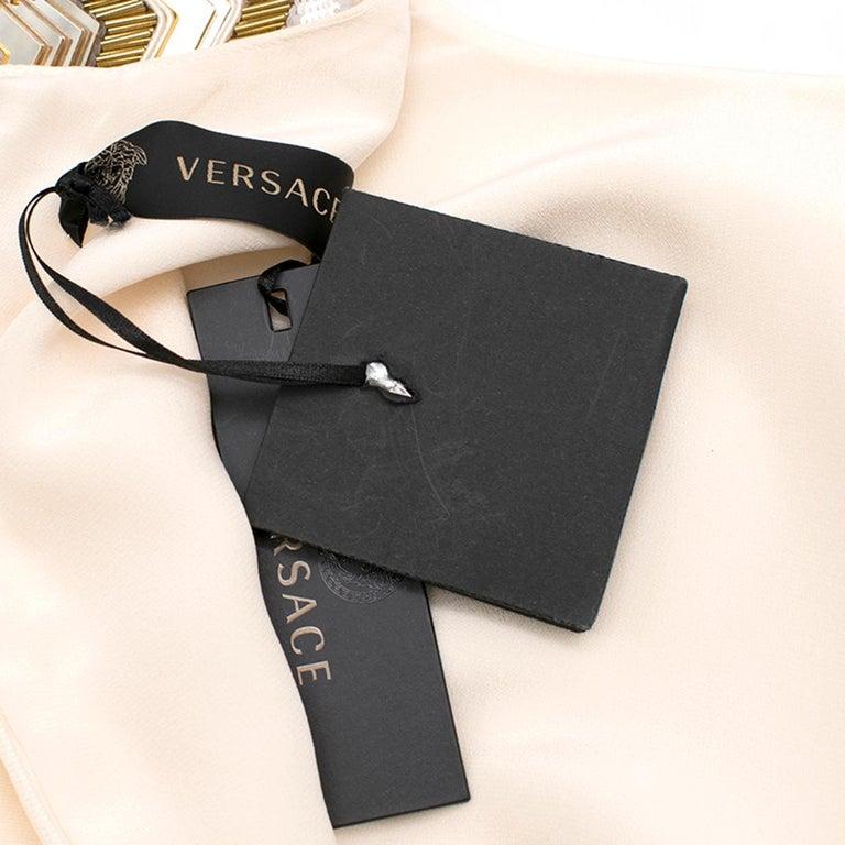 Women's Versace Cream Mini Dress with Crystal Embellished Shoulders & Belt 40 IT For Sale