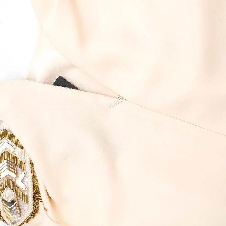 Versace Cream Mini Dress with Crystal Embellished Shoulders & Belt 40 IT For Sale 1