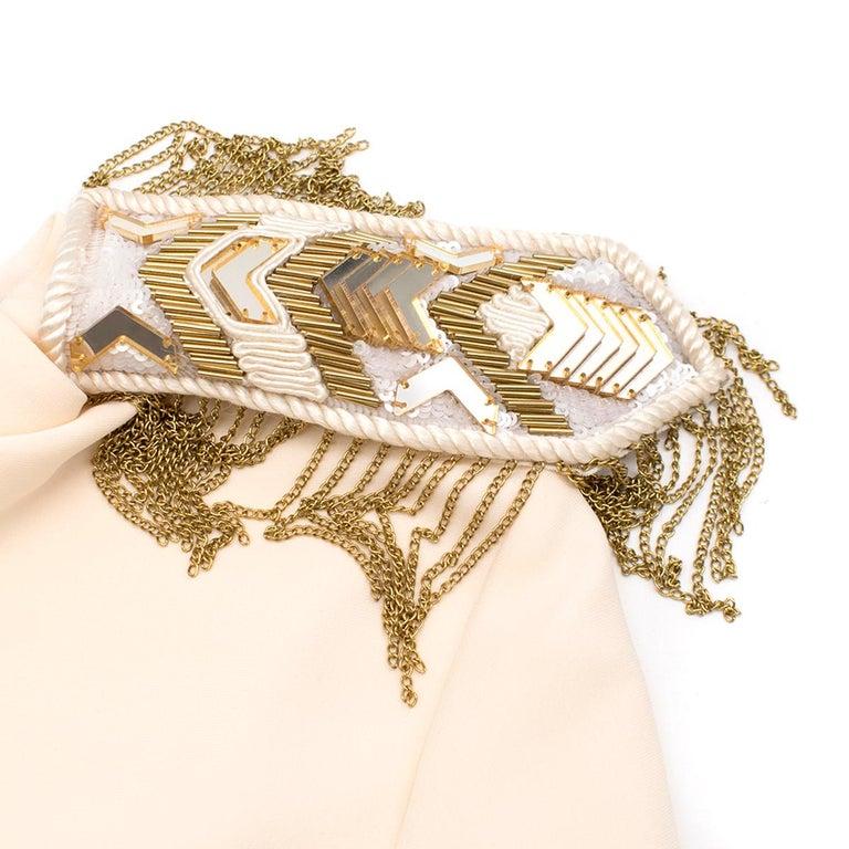 Versace Cream Mini Dress with Crystal Embellished Shoulders & Belt 40 IT For Sale 2