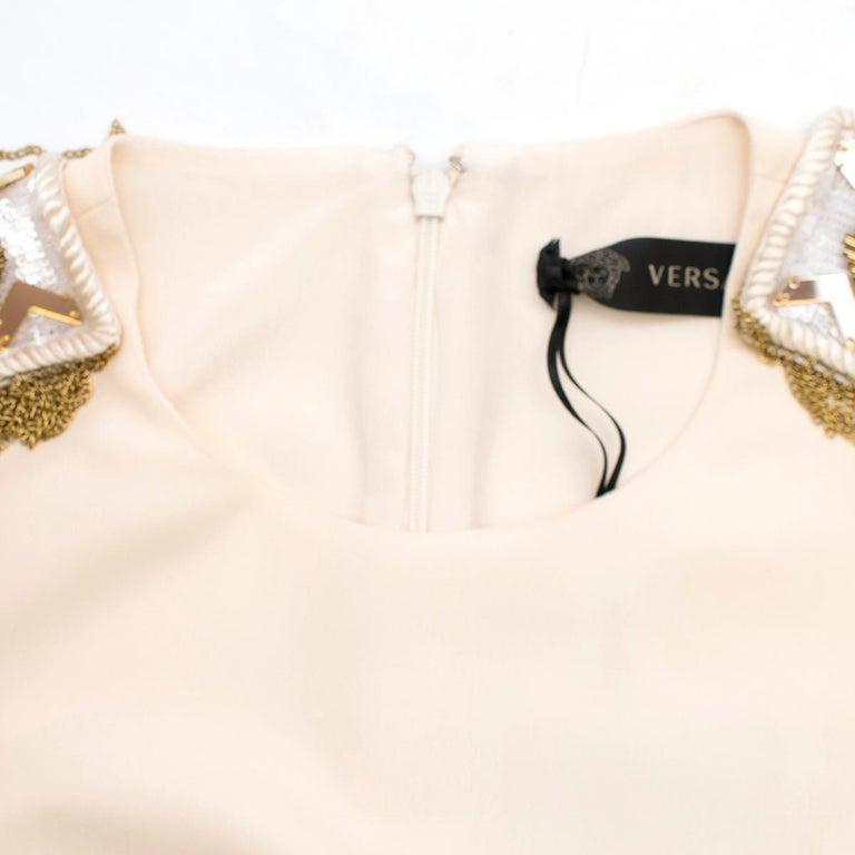 Versace Cream Mini Dress with Crystal Embellished Shoulders & Belt 40 IT For Sale 3