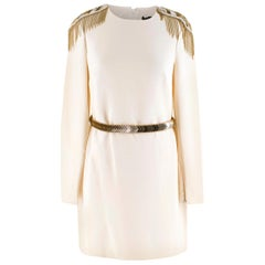 Versace Cream Mini Dress with Crystal Embellished Shoulders & Belt 40 IT