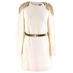Versace Cream Mini Dress with Crystal Embellished Shoulders & Belt 40 IT