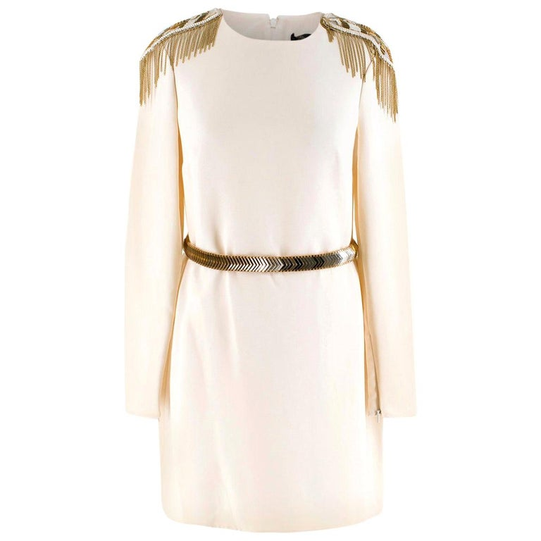Versace Cream Mini Dress with Crystal Embellished Shoulders & Belt 40 IT For Sale