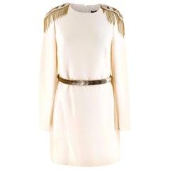 Versace Cream Mini Dress with Crystal Embellished Shoulders & Belt - Size US 4