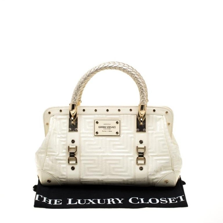 Versace Cream Quilted Patent Leather Snap Out Of It Satchel For Sale 7