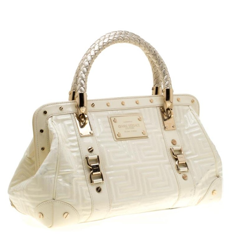 Women's Versace Cream Quilted Patent Leather Snap Out Of It Satchel For Sale