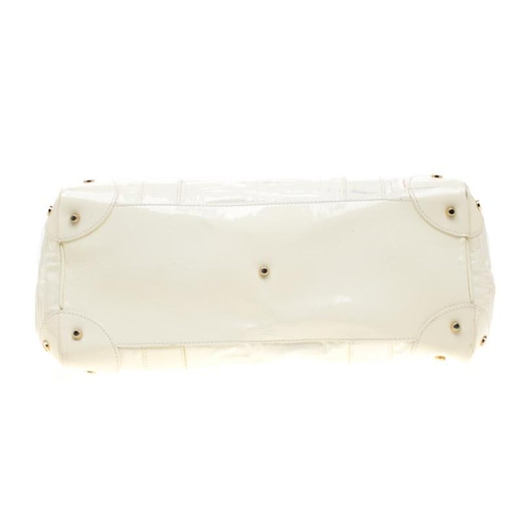 Versace Cream Quilted Patent Leather Snap Out Of It Satchel For Sale 1