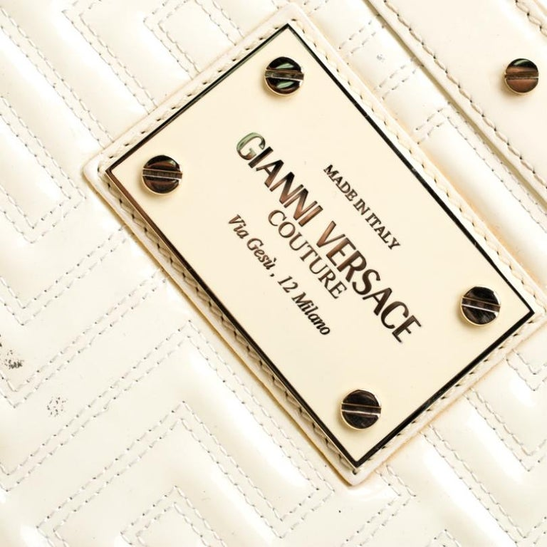Versace Cream Quilted Patent Leather Snap Out Of It Satchel For Sale 2