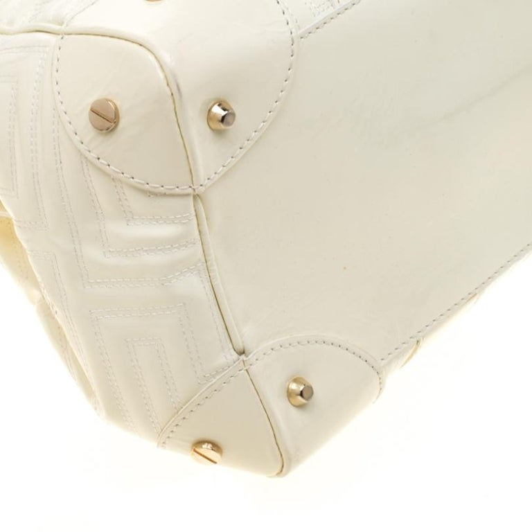 Versace Cream Quilted Patent Leather Snap Out Of It Satchel For Sale 3