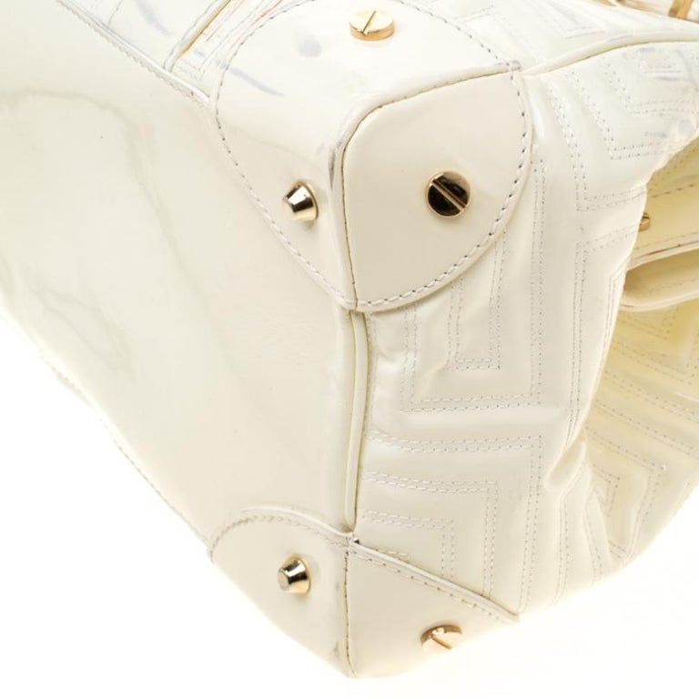 Versace Cream Quilted Patent Leather Snap Out Of It Satchel For Sale 4