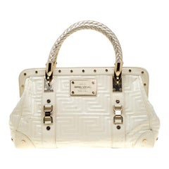 Versace Cream Quilted Patent Leather Snap Out Of It Satchel