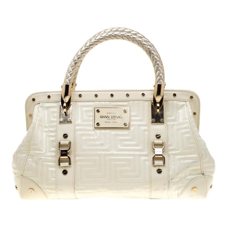 Versace Cream Quilted Patent Leather Snap Out Of It Satchel For Sale