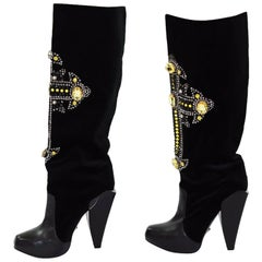 Versace Crystal-embellished Cross velvet and leather knee boots 40 - 10