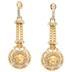 Versace Crystal Embellished Medusa Drop Earrings One size