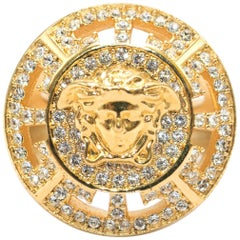 Versace Crystal Embellished Medusa Head Ring