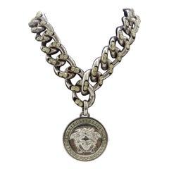 Versace Crystal Medusa Pendant Necklace
