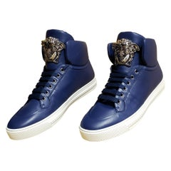 VERSACE DARK BLUE LEATHER PALAZZO HIGH-TOP Sneakers