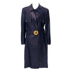 Versace Dark Blue Leather Trench Coat