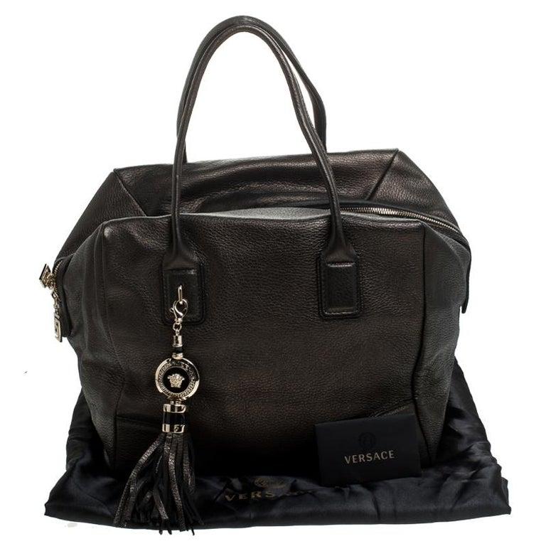 Versace Dark Bronze Leather Vanitas Satchel For Sale 7