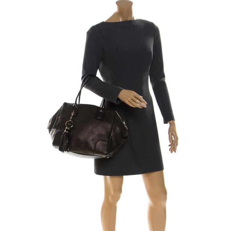 Versace Dark Bronze Leather Vanitas Satchel In Good Condition For Sale In Dubai, Al Qouz 2