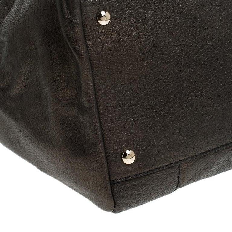 Versace Dark Bronze Leather Vanitas Satchel For Sale 1